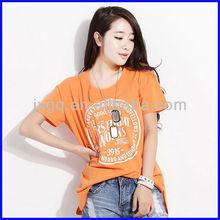 Women's fashion printed loose fitting short sleeve cotton t shirt
