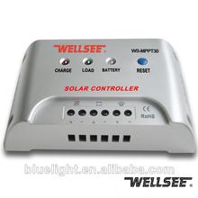 Carga del panel solar del controlador 12v 24v 30a wellsee ws-mppt30 de la marca ce y rohs aprobados