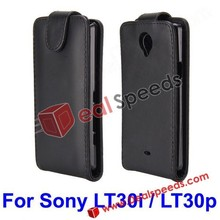 Black Leather Flip Protective Case for Sony Xperia T LT30i / LT30p with Magnetic Closure