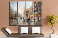 4 piece art set modern wall art Old New York City Street Scenery Palette Abstract Oil Painting on Canvas