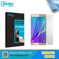 2015 New arrival !! Mobile Phone 9h 0.33mm tempered glass screen protector for Samsung Note5