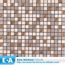 Tawney Crystal Glass Mosaic Blending Brushed Stainless Steel Mosaic For Wall
