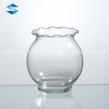Chinese deskstop round glass fish bowl for centerpiece