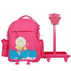 kids trolley school bag with wheels for girls