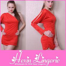 apretado de alta calidad roja de manga larga vestido de vendaje
