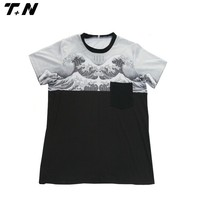 fancy printed t-shirt,full-size printing t-shirt,100% polyester t-shirt with pocket