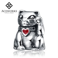 Wholesale 925 Sterling Silver Beads Charms Lucky Cat