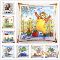 Wholesale Latest Design Christmas Snowman Cartoon Digital Print for Car Chair Custom Decorative Throw Pillow Case Cushion Cover