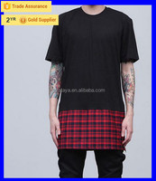 2015 apparel sale quality custom design wholesale hiphop elongated long tall t shirt cotton tee t-shirts