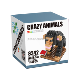 Non-toxic Stacking Blocks Custom Plastic Animal Toy Figure Chimpanzee & Puppy 2 In 1