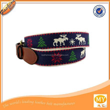 handmade christmas deer and trees solid brass buckle 18 counts mono fabric genuine needlepoint belt