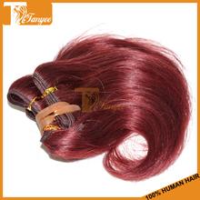Good quality 5a human european body wave hair extensions burgundy remy hair weaving 99j