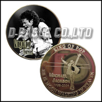 3D Engraved with Printed Super Star Michael Jackson Coin FMJ150/Custom Souvenir / Custom Coin/Medal