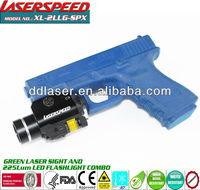 Tactical LED light + 5mw pistol green laser sight combo