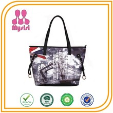 Wholesale Cheap Ladies London Tower Bridge Pattern Tote Bags Women Authentic Designer Handbags