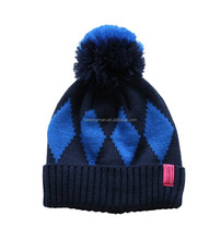 2015 Acrylic jacquard diamond patterned knitting pom pom hat cap beanie