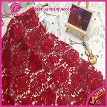 2015 Cheap Lace Embroidery Designer Red Lace Design Saree
