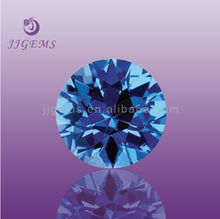 New product 5mm facet round blue topaz cubic zirconia