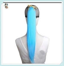 Light Blue Long Straight Synthetic Hair Drawstring Clip on Ponytails HPC-1421