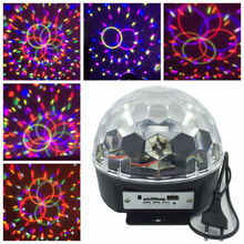 New LED Disco Light, 9 Colors LED Crystal Ball Stage Light with MP3, 6pcs 3W Tuning Light