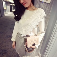 New Fashion Designs Women Fancy O-Neck Long Sleeve White Lace Solid Blouse Tops SV019337