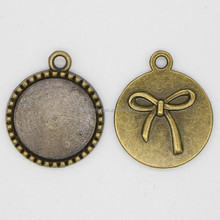 Fashion jewelry new setting tray, Antiqued Style Bronze Tone Alloy Round blank pendant trays bezel 18mm Pendants