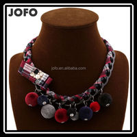 European Street Fashion High Quality Handmade Weave Cotton Bow Plush Ball Necklace