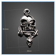 antique metal 3d skull charms jewelry with snake tangled