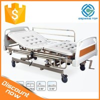 Electric three function nursing hospital bed with Manual and electrical elevating system