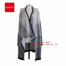 Fashion Gradient Special Pattern Ladies Knitwear Poncho