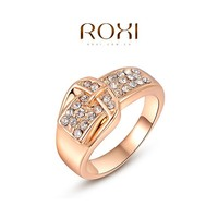 ROXI Fashion Jewelry Ros Gold Belt Buckle Rings with CZ Diamond Shenzhen Factory Wholesale Jewelry