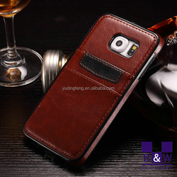 Luxury full back case for samsung s6 with card holder pu leather case for samsung galaxy s6