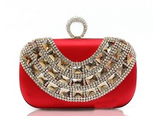 Top quality LUXURY South Africa plain Crystal evening bag party clutch bag