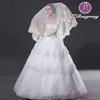 ZD04 One-Layer White Beaded Appliques Long Scalloped Edged Wedding Veils