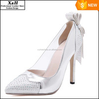 Fashion Shoes White Ivory Bridal Pumps Almond Toe Bow Stiletto Heel Satin Platform Wedding Shoes