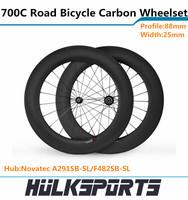 88mm carbon tubular wheelset 3K carbon wheelset of 700c road bike with 25mm width