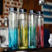 Handsome new product water bottle glass with stainless steel cap