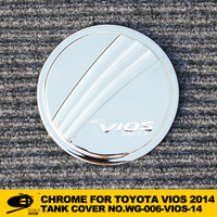 Chrome fuel tank cover cap for TOYOTA VIOS 2014 champ chromed car accessories