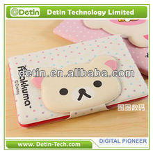 Lovely Protective Cover Stand Cartoon Relax Rilakkuma Bear Case for iPad Mini With Credit Card Slot