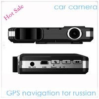 Hot Sale 720p car video camera recorder with all-round radar detector system,Russian broadcast with gps navigation