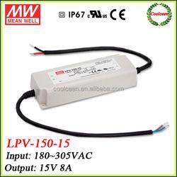 Meanwell waterproof LED driver ip67 LPV-150-15