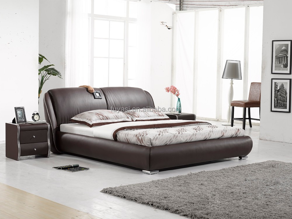 Alibaba Furniture Faux Leather Bed King Size Bed European
