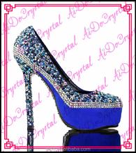Aidocrystal fashion platform crystal ladies genuine leather high heels,rhinestone glitter party shoes for women