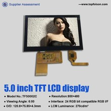 High brightness 5.0 inch multitouch module touchpad with 800x480 capacitive touch screen TF50002C