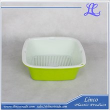 Plástico cuadrada doble capa colador cesta