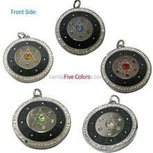 Different colords crystals scalar energy pendant with ions, authenticity card and box packing