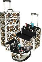 Large zebra cosmetic trolley case
