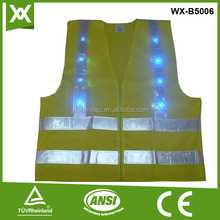 hi reflective safety vest with led light with 8 lights led lights knit safety vest