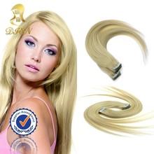 China hair factory wholesale price blonde slik straight human hair extension,stick tape hair extension