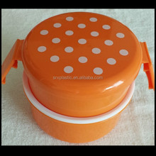 round shape Orange 2 Tier plastic Bento Lunch Box Orange White Spots made in china,custom plastic bento box container factory